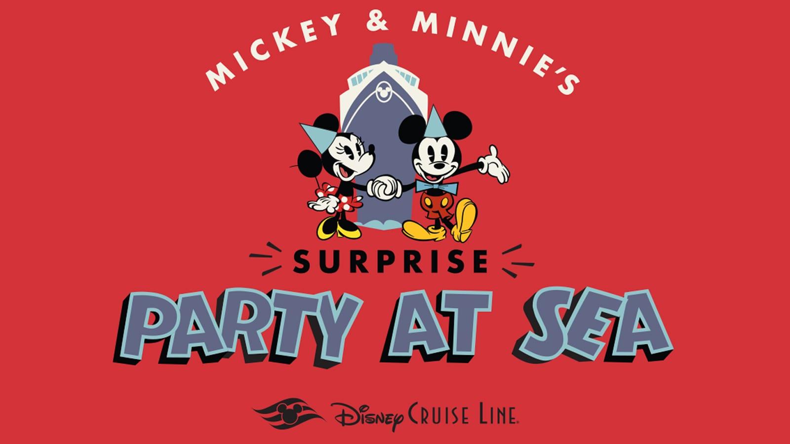Una animación de Mickey y Minnie con las palabras Mickey and Minnie's Surprise Party at Sea