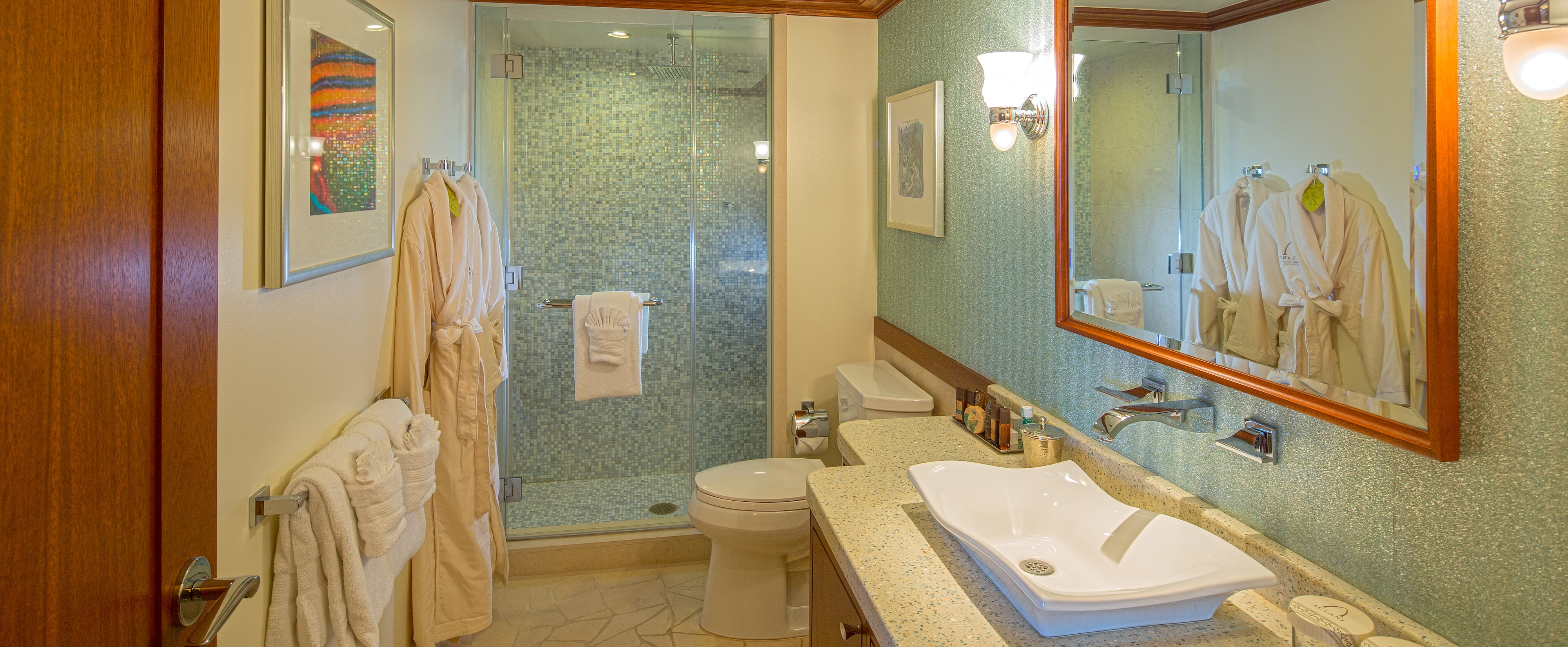 Second bathroom with shower and plush robes