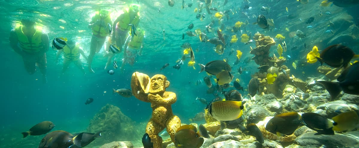 Guests snorkeling at Rainbow Reef lagoon