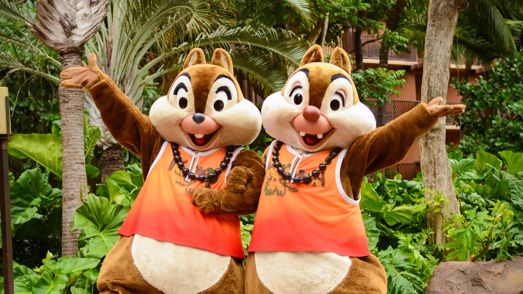 Chip and Dale, wearing matching tank tops and nut leis, pose on a path at Aulani Resort