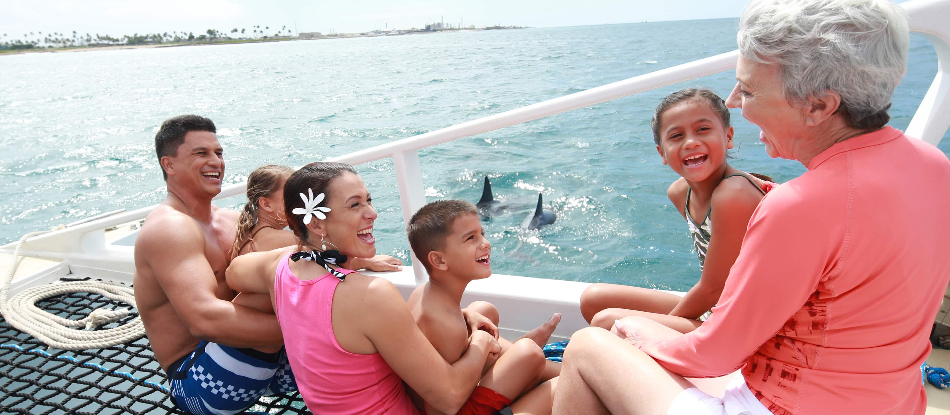 A grandmother, father, mother and 3 children enjoy a catamaran excursion while dolphins swim nearby