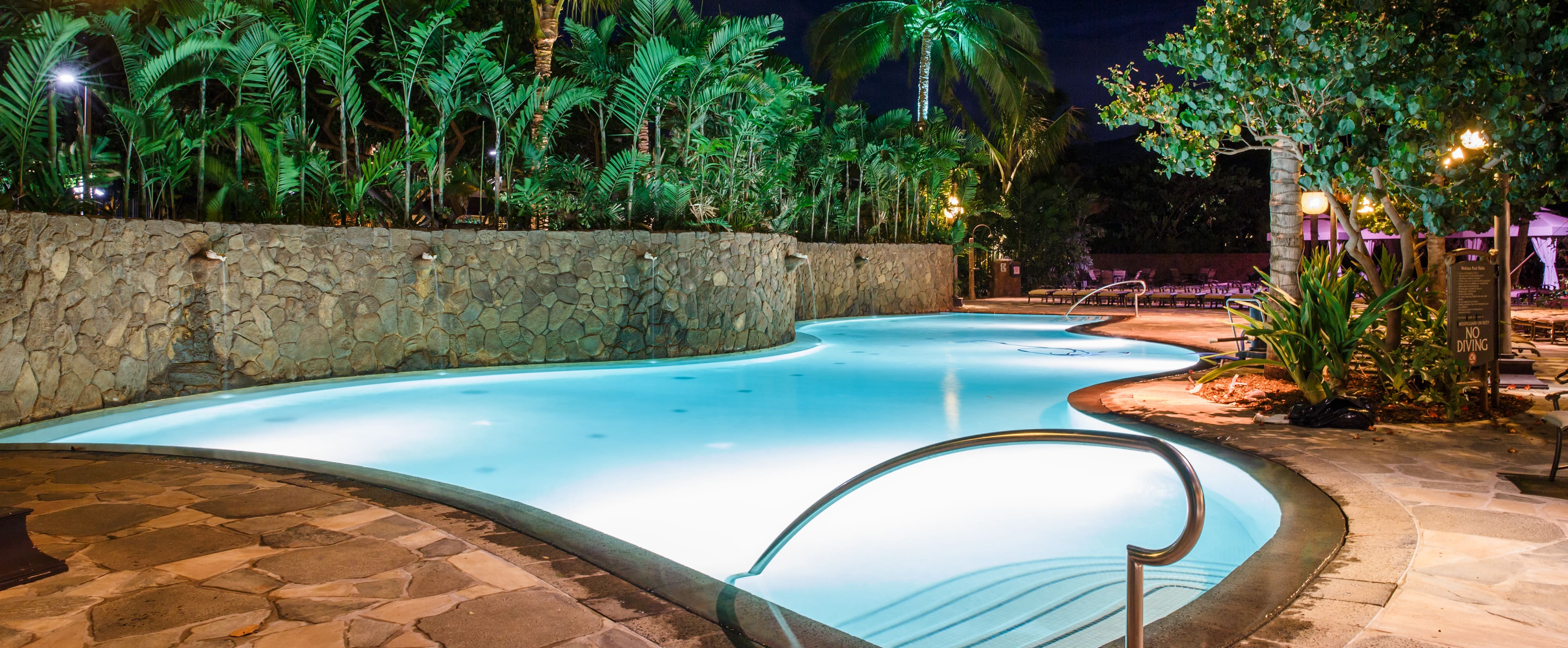 A pool with a high, curving rock wall with shell-like water spouts and tropical landscaping lit up at night