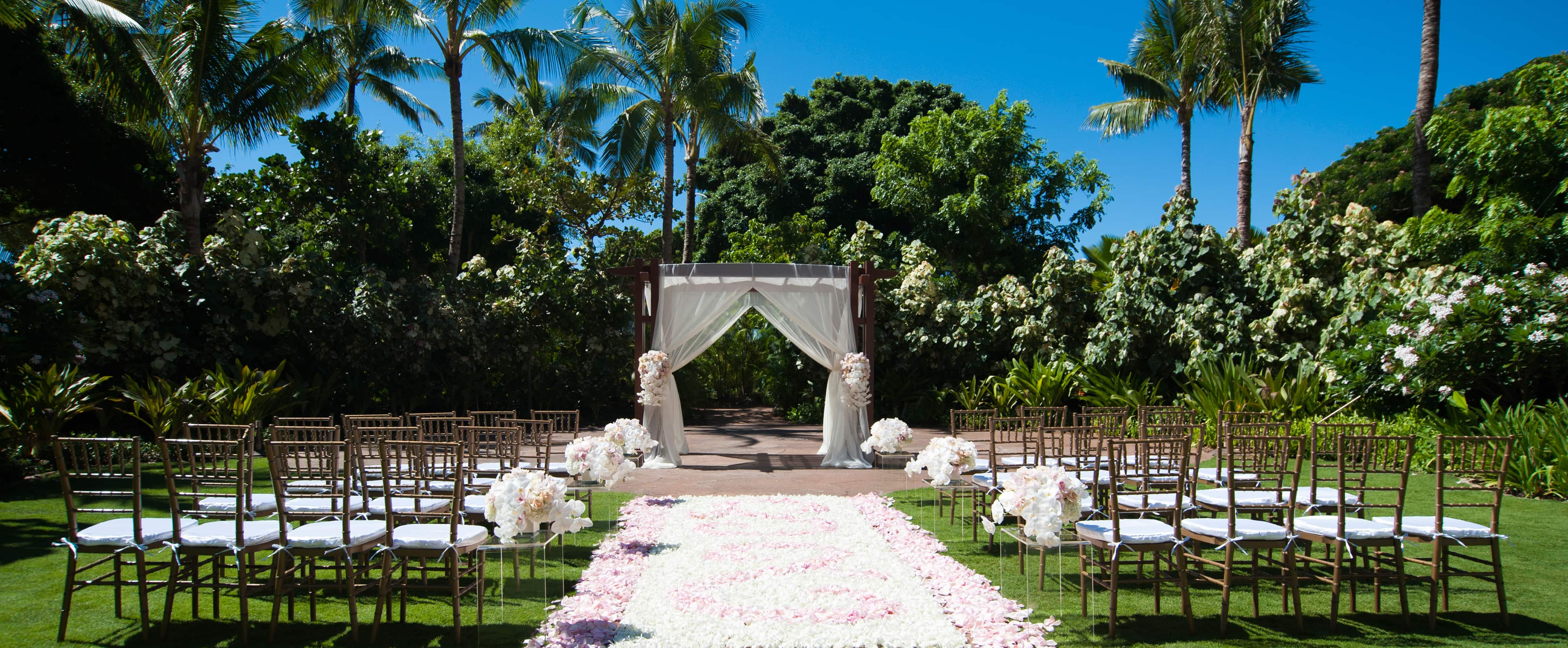 Rows of Chiavari chairs line a rose petal aisle leading to a white-draped altar on a lawn bordered by trees