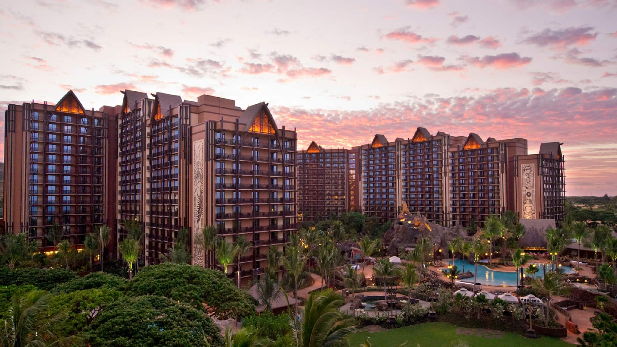 The exterior of Aulani Resort at dusk