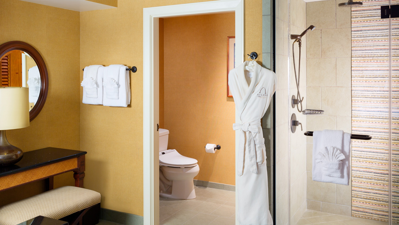 シャワーとタオル、洗面台、ランプ、ローブ、トイレ