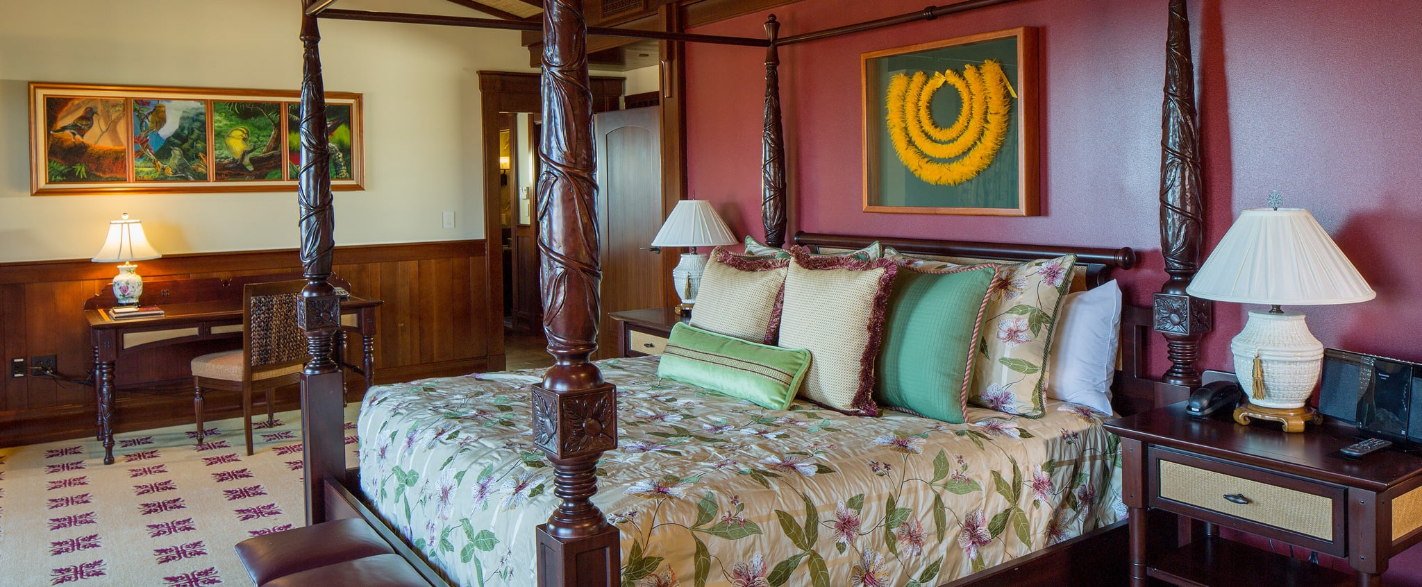 In The Master Bedroom Of 2 Suite There Is A Carved Wooden 4