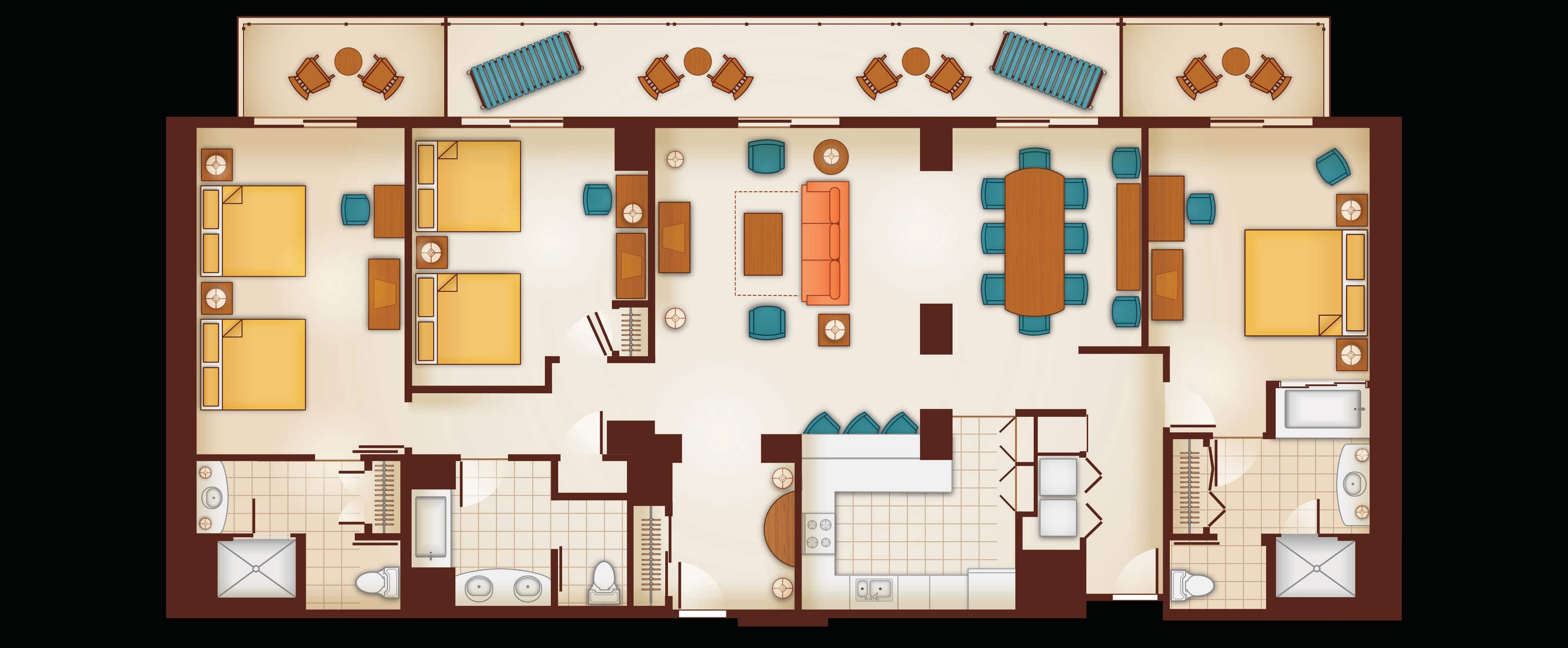 Floor Plan of a 3 Bedroom Grand