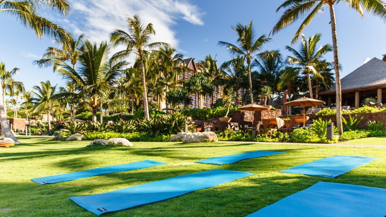 Several yoga mats on a grassy lawn at Aulani Resort