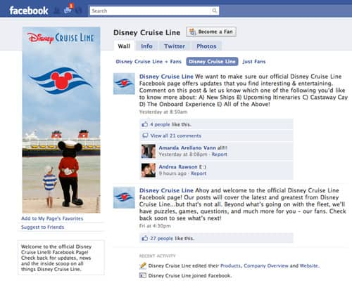 Disney Cruise Line Joins Facebook