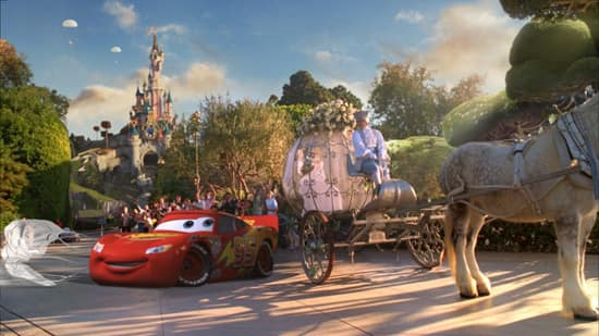 An ad from Disneyland Paris' New Generation Festival: Lightning McQueen drives past Cinderella in front of Sleeping Beauty Castle.
