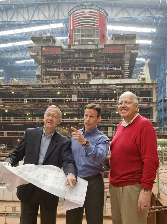 In the photo (from left to right) are Bernard Meyer, Managing Partner for Meyer Werft, Tom Staggs and Karl Holz