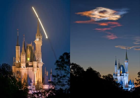 Space Shuttle Discovery soaring over Cinderella Castle