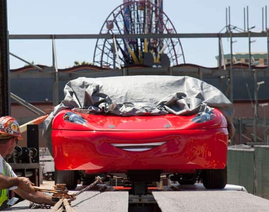 Cars Land Welcomes First Test Vehicle