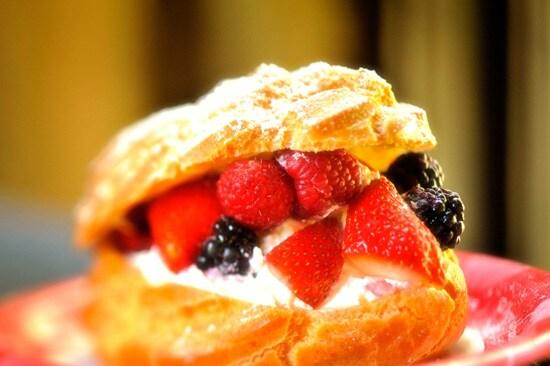 Jumbo Cream Puffs with Fresh Berries at Kringla Bakeri og Kafe