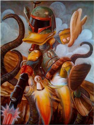 Donald Duck as the infamous Boba Fett