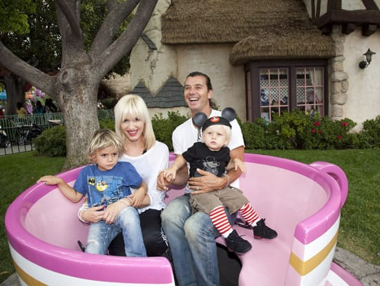 Gwen Stefani with her family at the Disneyland Park