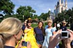 Miss Oregon 2010 Stephenie Steers (center), of Klamath Falls, Ore., poses for a photo with Belle (left) and Cinderella (right) at the Magic Kingdom.