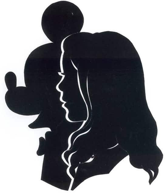 Mickey and girl silhouettes