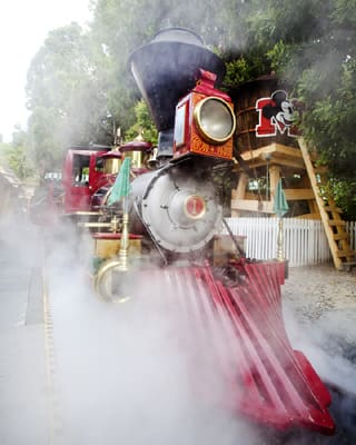 Train Stopped Next to the Mickey Mouse Water Tower in Toontown, By: Paul Hiffmeyer