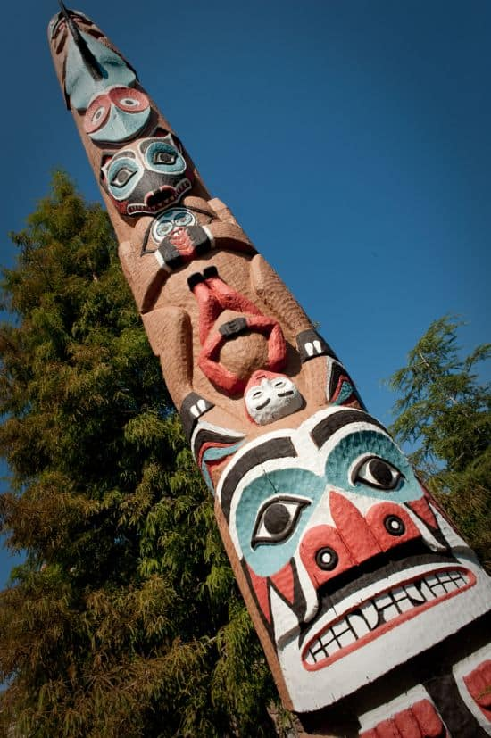 One of the 30-Foot Totem Poles at the Canada Pavilion