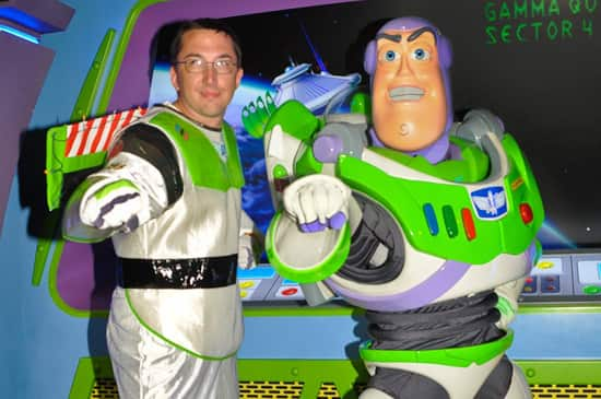 Buzz Lightyear and a Guest Pose for a Picture