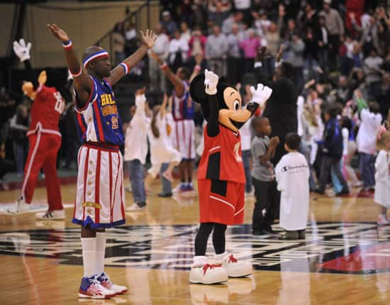 The Harlem Globetrotters and Mickey Mouse
