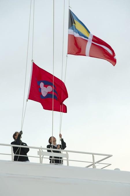 Raising of the Disney Cruise Line Flag