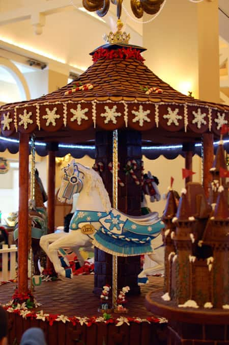 The carousel is Trimmed with Gingerbread Snowflakes