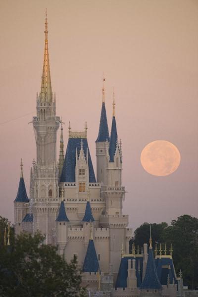 A Full Moon Behind Cindereall Castle, By David Roark
