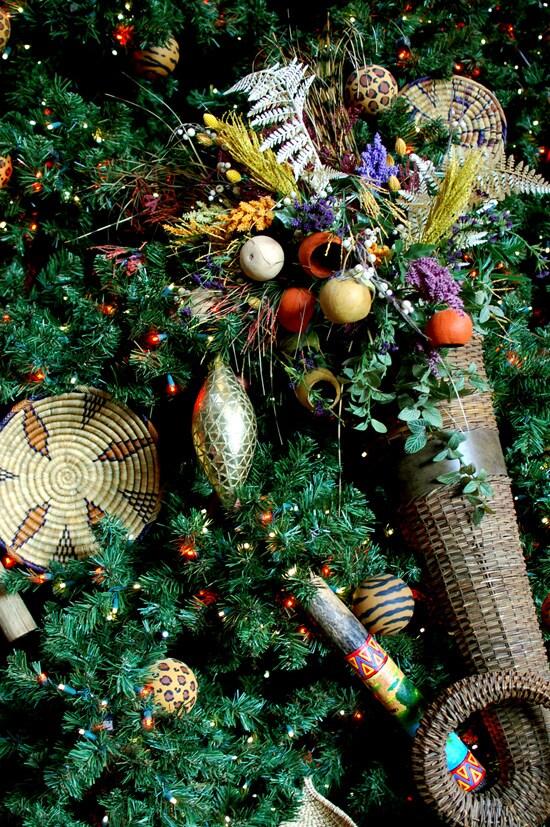 The tree at Disney's Animal Kingdom Lodge sports baskets, masks, beads and animal-print ornaments.