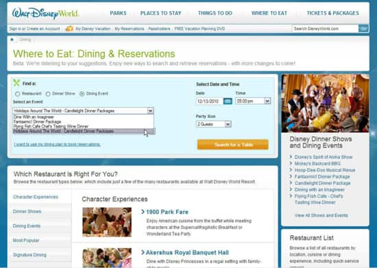 Walt Disney World Online Dining Reservations