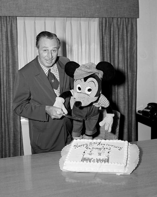 A Rare Photo of Walt in 1957 as He Celebrated the Second Anniversary of the Opening of Disneyland Park