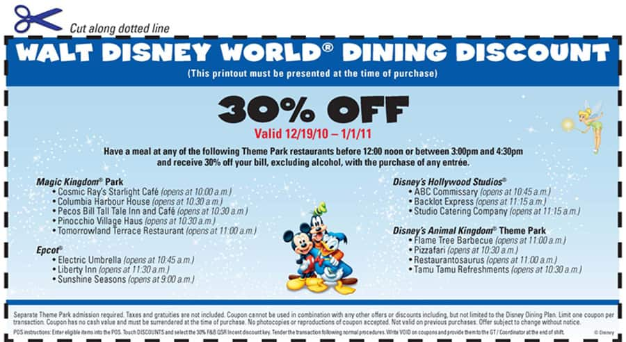 photograph regarding Disneyland Printable Coupons referred to as Walt Disney World wide Eating Voucher Disney Parks Website