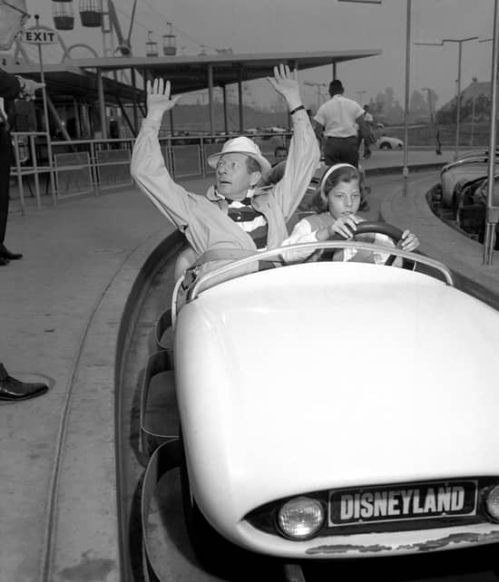 Danny Kaye Riding Autopia with his Daughter in 1958
