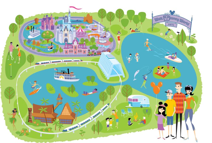 image about Printable Magic Kingdom Maps named Adding the Artwork of SHAG towards Walt Disney Earth and Disney