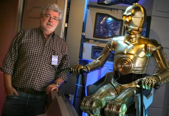 George Lucas visits Star Tours at Disneyland Park