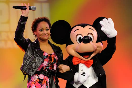 Singer/Actress Raven Symone and Mickey Mouse at the Disney's Dreamers Academy Commencement Ceremony