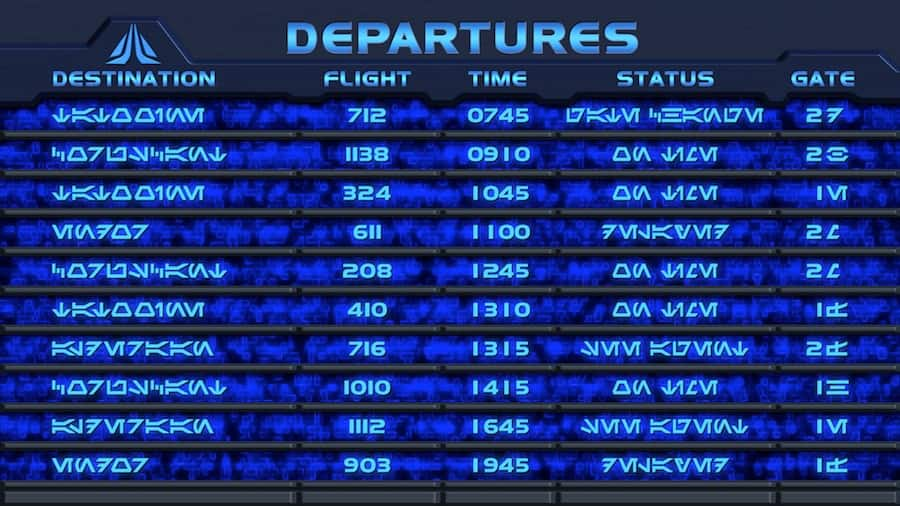 Star Tours Departure Board