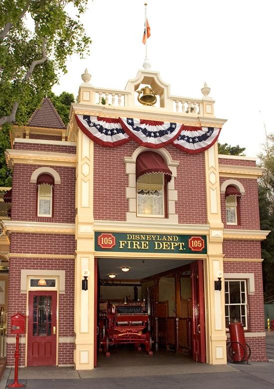 The Disneyland Fire House on Main Street, U.S.A., at Disneyland Park
