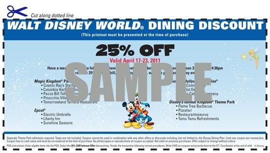 Walt Disney World Dining Discount