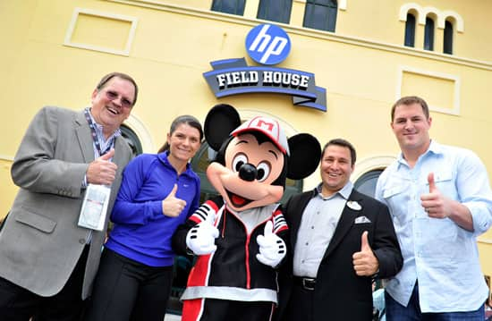 Gary Elliott, VP of Brand Marketing for HP, U.S. Women's Soccer Legend Mia Hamm, Mickey Mouse, Ken Potrock, Senior VP of Disney Sports Enterprises, and Jason Witten, NFL All-Pro tight end for the Dallas Cowboys