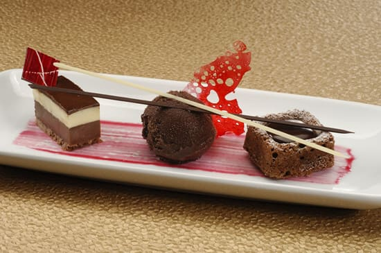Trio of Chocolate: Mousse, Sorbet and Warm Chocolate Almond Cake