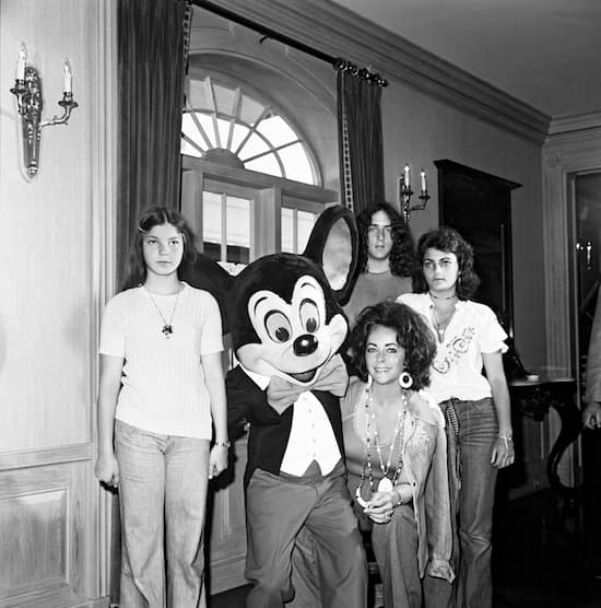 In the Summer of 1973, Elizabeth Taylor with Three of Her Kids and Mickey Mouse