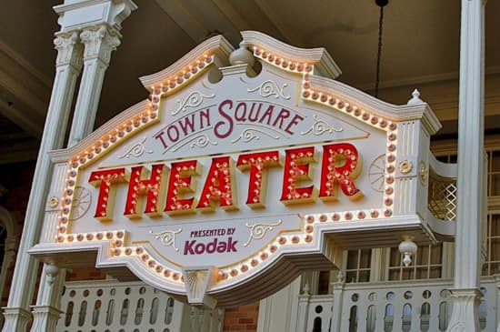 Signage for Town Square Theater at Magic Kingdom Park