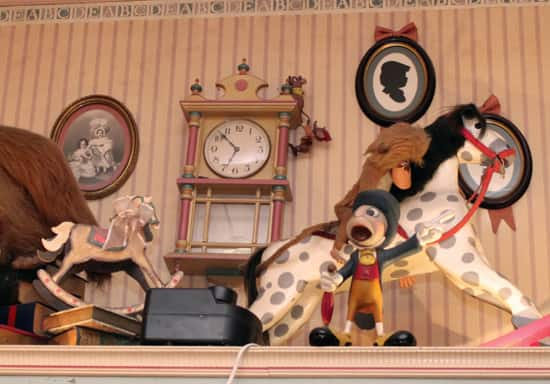 Cinderella's Gus and Jacques Scurrying up the Clock at Emporium