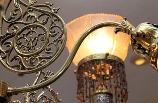 Detailed Scroll Work of the Chandelier at the Main Street Mad Hatter