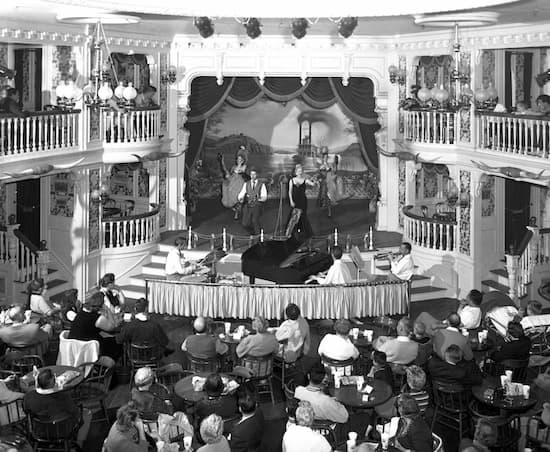 Betty Taylor and Wally Boag perform in the Golden Horseshoe Revue, 1957