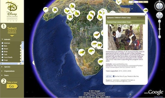 Disney Worldwide Conservation Fund's Google Earth Site