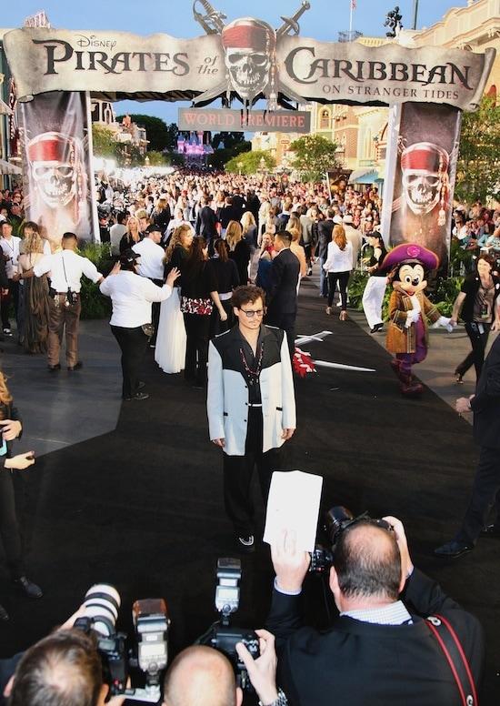 Johnny Depp at the World Premiere of 'Pirates of the Caribbean: On Stranger Tides' at Disneyland Park