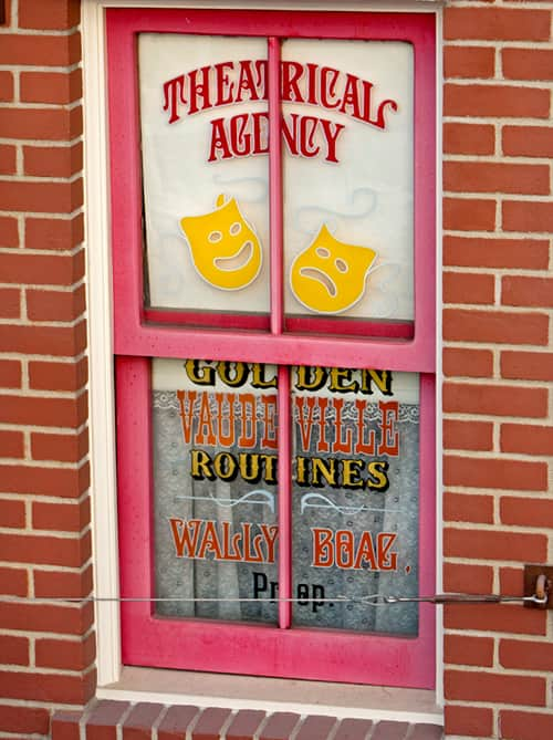 Wally Boag's Window on Main Street, U.S.A., above the Blue Ribbon Bakery at Disneyland Park